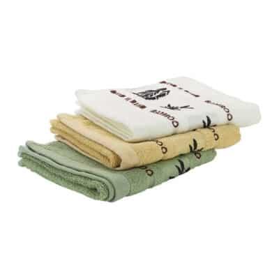Bambus Handtücher in Gelb, Grün und Weiß
